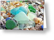 Blue Green Sea Glass Coastal Art Greeting Card