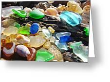 Blue Green Seaglass Art Prinst Agates Shells Greeting Card