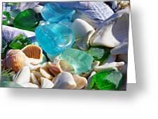 Blue Green Seaglass Shells Coastal Beach Greeting Card by Baslee Troutman