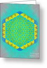 Blue Green Yellow Flower Of Life Greeting Card