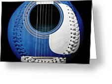 Blue Guitar Baseball White Laces Square Greeting Card