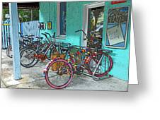 Blue Heaven Key West Bicycles Greeting Card