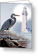 Blue Heron In The Circle Of Light Greeting Card