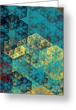 Blue Hexagon Fractal Art 2 Of 3 Greeting Card