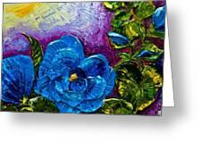 Blue Hollyhocks Greeting Card