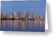 Blue Hour At False Creek Vancouver Bc Canada Greeting Card