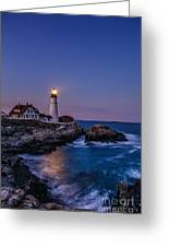 Blue Hour At Portland Head Lighthouse Greeting Card