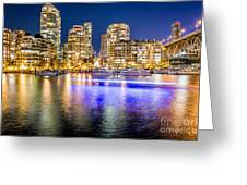 Blue Hour In Vancouver Greeting Card