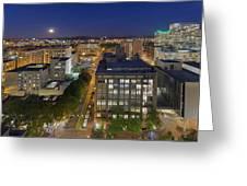 Blue Hour Moonrise II Over City Of Portland Oregon Greeting Card