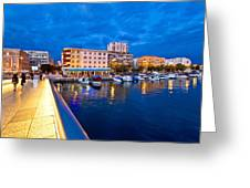 Blue Hour Zadar Waterfront View Greeting Card