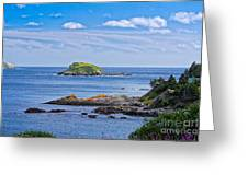 Blue House With An Ocean View Greeting Card
