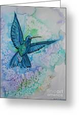 Blue Hummingbird In Flight Greeting Card by M C Sturman