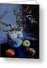 Blue Jug And Apples Greeting Card