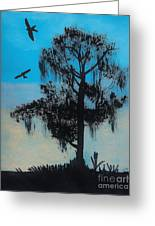 Blue Kite Sunset Greeting Card
