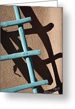 Blue Ladder And Shadow Greeting Card by David Gordon