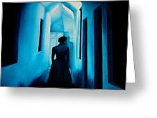 Blue Lady In The Hall Greeting Card