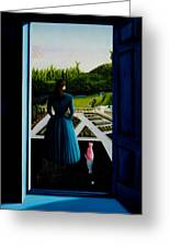 Blue Lady Thru The Door Greeting Card