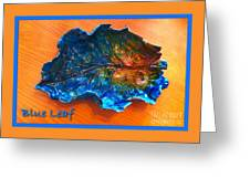 Blue Leaf Ceramic Design 3 Greeting Card