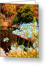 Blue Lily Water Garden Greeting Card