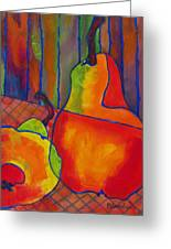 Blue Line Pears Greeting Card by Blenda Studio