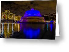 Blue London Fountain Greeting Card