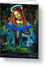 Blue Madonna In Tree Greeting Card