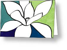 Blue Magnolia 1- Floral Art Greeting Card