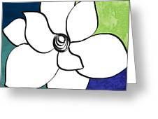 Blue Magnolia 2- Floral Art Greeting Card