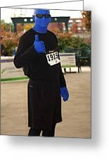 Blue Man Runner Greeting Card