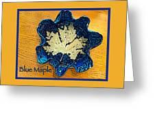 Blue Maple Leaf Dish 2 Greeting Card