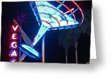 Blue Martini Glass Las Vegas Greeting Card