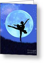 Blue Moon Ballerina Greeting Card