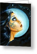 Blue Moon Goodess Greeting Card by Elaina  Wagner