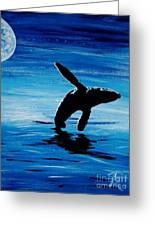 Blue Moon II - Right Side - Acrylic Greeting Card