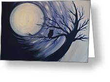 Blue Moon Vortex With Owl Greeting Card