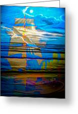 Blue Moonlight With Seagull And Sails Greeting Card