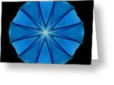 Blue Morning Glory Flower Mandala Greeting Card