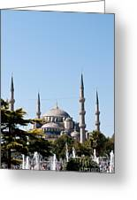 Blue Mosque Blue Sky 02 Greeting Card