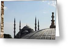 Blue Mosque Dome Behind Hagia Sophia Dome Greeting Card