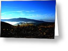 Blue Mountain Landscape Umbria Italy Greeting Card