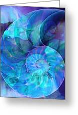 Blue Nautilus Shell By Sharon Cummings Greeting Card