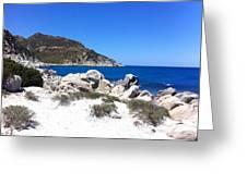 Blue Ocean Rocky Beach Greeting Card