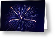 Blue Orange Fireworks Galveston Greeting Card