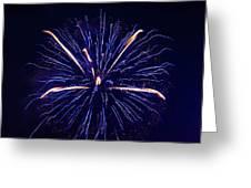 Blue Orange Fireworks Galveston Greeting Card by Jason Brow