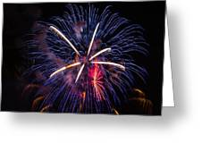 Blue Orange Red Fireworks Galveston Greeting Card by Jason Brow