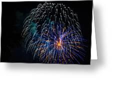 Blue Orange White Fireworks Galveston Greeting Card