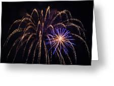 Blue Orange Yellow Fireworks Galveston Greeting Card