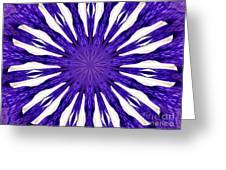 Blue Orchid Sunburst Kaleidoscope Greeting Card