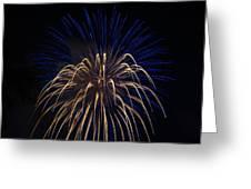Blue Over Orange Fireworks Galveston Greeting Card by Jason Brow