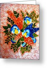Blue Pansies Bouquet Greeting Card
